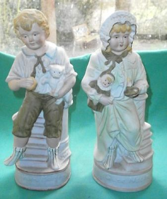 antique pair of figurines, Good morning, Good night/ bisque/Germany