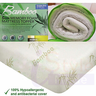 Quality Bamboo Memory Foam Mattress Topper Size Available Single Double King new
