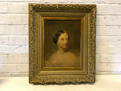 Antique 19th Century Oil on Canvas Portrait Painting of Woman