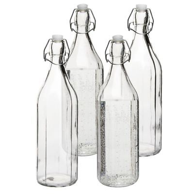 Benzer - Octo Set of 4 Glass Bottle with Airtite Clip Seal 1.1Ltr