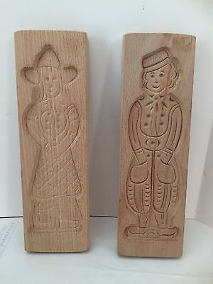 2 Vintage Hand-Carved Wood Butter Cookie Shortbread Molds Dutch Man And Woman