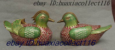 "12"" Old Chinese Dyansty Palace Bronze Cloisonne Enamel Mandarin Duck Statue Pair"