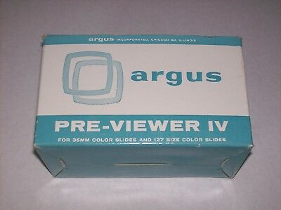 Vintage Argus Pre-Viewer II 35 MM 127 Size Color Slide Previewing Device w/ Box