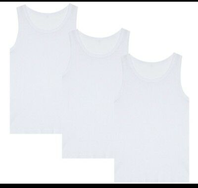 1,2,3 Pack Kids Boys Girls vests White Vest Cotton Summer Tank Top School Wear