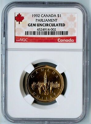 1992 Canada Ngc Gem Uncirculated Parliament Loonie $1! Highly Coveted!