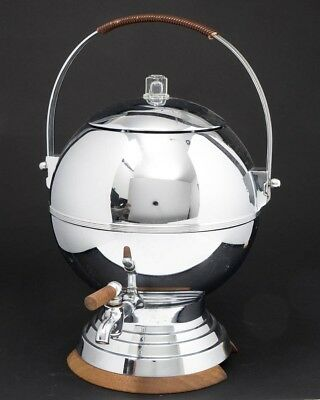 Vintage Manning Bowman Chrome & Wood Coffee Percolator 24 Cup Electric Art Deco