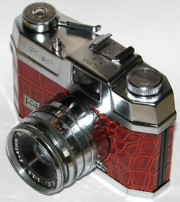Vintage HALINA 35X SUPER CAMERA AND RANGEFINDER  DARK RED CROCODILE SKIN