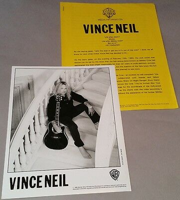 "Vince Neil (Motley Crue) -1995 ""Carved In Stone""- Press Release Kit - Bio,8 x 10"