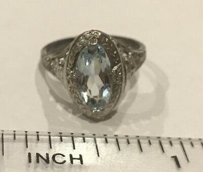 Antique Art Deco Sterling Silver Aqua Stone Filigree Ring