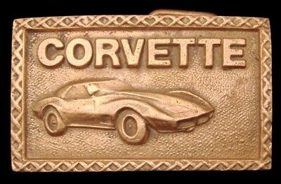 LG24155 GREAT VINTAGE 1970s ***CORVETTE*** CHEVROLET CHEVY SOLID BRASS BUCKLE