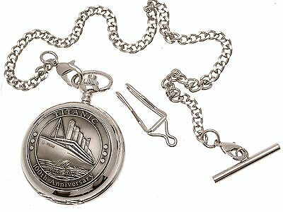 Titanic Pocket Watch Pewter Fronted Mother Of Pearl Quartz Mechanism Design 64