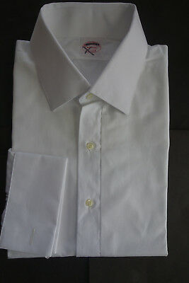 NWOT Brooks Brothers White Cotton Formal Shirt 17-34   Retail $285