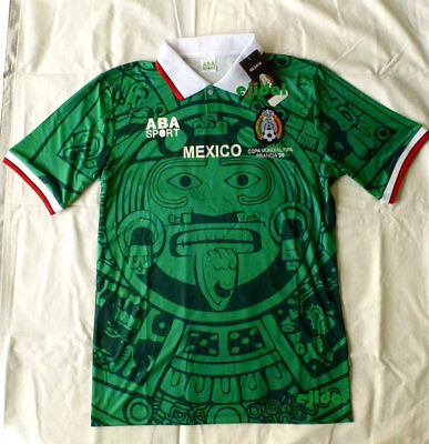 70b77f304b4 New ABA SPORT Mexico 1998 Jersey Medium RETRO France NO NAME shirt Home  russia