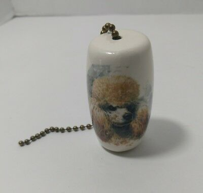Ceiling Fan Pull Dog Chain Poodle Decor Ceramic Animal Lover Accessory String