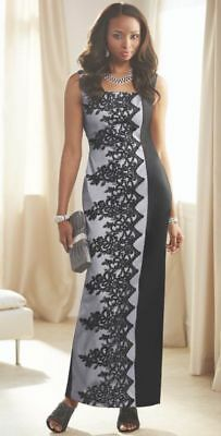 30381964ed Ashro Black Gray Lace Vianne Gown by Ashro Formal Wedding Dinner Party Size  6 12