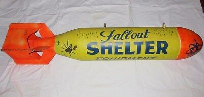 Vintage Fall-Out Shelter Equipment Sign Painted Practice Training Bomb Shell