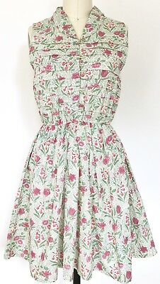 Vintage Green Pink Cream Floral Print Cotton Dress XS