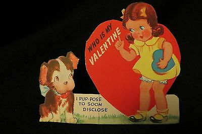 Vintage ENGLISH BULL TERRIER Valentine Card c. 1940s