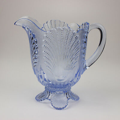 Mosser Glass Shell/Beaded Shell Pitcher, Moonlight/Ice/Willow Blue