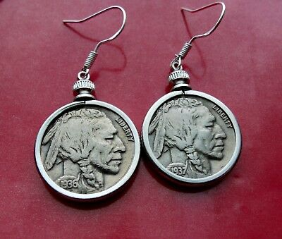 Pair of 1930's USA Buffalo Nickel Coin Earrings on Sterling Silver French Hooks