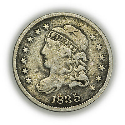 1835 Capped Bust Half Dime, Small, Early Type, Silver Coin [3702.08]