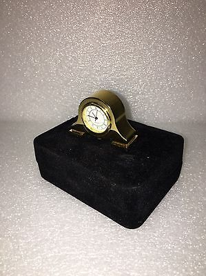 Miniature Art Deco Napoleon Hat Style Gold Plated Table Clock