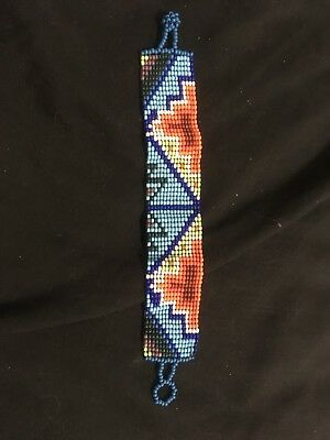Huichol Mexican Tribal Beaded Medicine Protection Bracelets Blue Orange Pattern