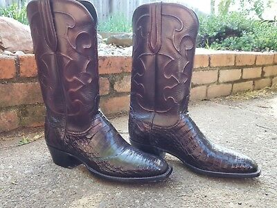 04c31332220 Lucchese CL1007WF TRENT Mens Black Cherry Belly Caiman