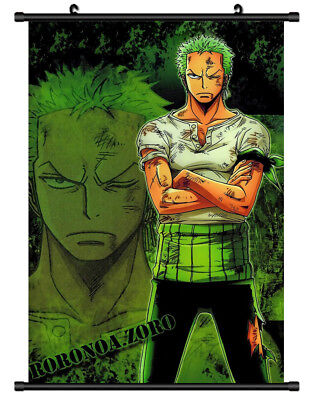 B5303 One Piece Roronoa Zoro anime manga Wall scroll Stoffposter 25x35cm