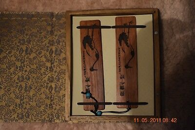 Nice set of Wooden Carved Chinese bookmarks in display box