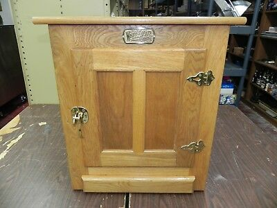 White Clad Icebox Reproduction Oak Cabinet End Table w Brass Simmons Hardware