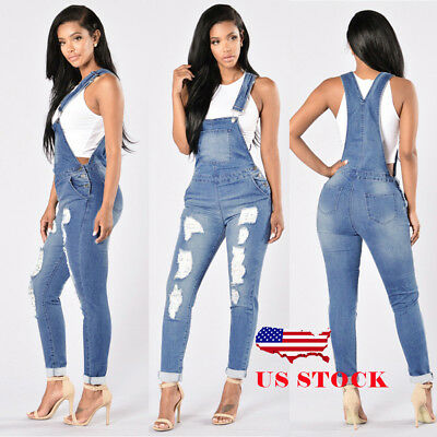 US Womens Skinny Denim Jeans BIB Pants Overalls Straps Jumpsuit Rompers Trousers