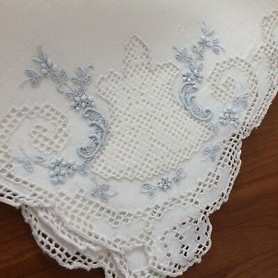 """ANTIQUE? vtg napkins 4pc SWISS APPENZELL embroidered lace open work 16""""sq"""