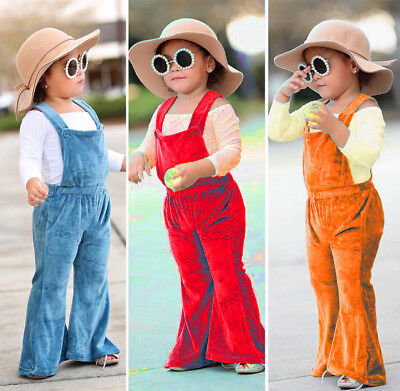 Casual Toddler Kids Girls Silk Solid Romper Jumpsuit Flared Bib Pants Clothes