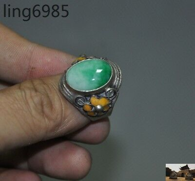 Collect Chinese Exquisite Tibetan Silver inlay Green Jade jewelry Jewellery Ring
