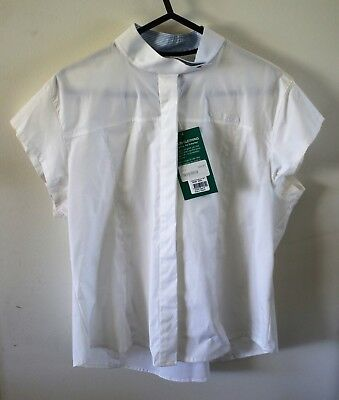 Brand New Dublin Short Sleeved Fitted Stretch Dressage Shirt - size 16 / white