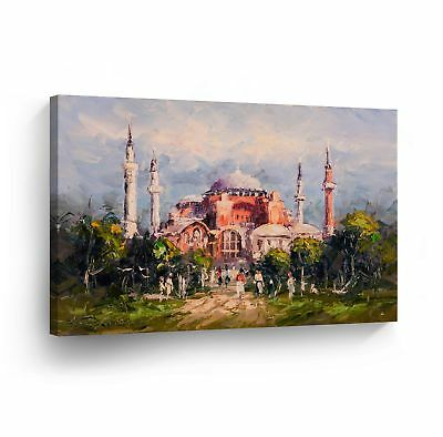 Islamic Wall Art Oil Painting Mosque Canvas Print Decor Arabic Calligraphy