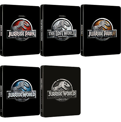 Jurassic Park, The Lost World, III, Fallen Kingdom (Blu-ray) 4K UHD Steelbook