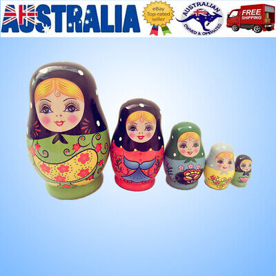 5X Cute Nesting Dolls Adorable Russian Stacking Dolls Collection Toy Green Girl
