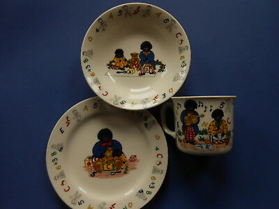 # Golly Gosh Children's Cup, Saucer & Plate - Gollywogs - Rare **like New