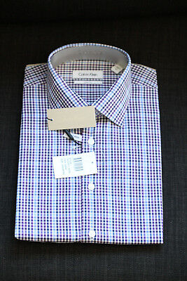 Calvin Klein Formal Shirt Size 41 Sleeve 92 Check Slim Fit Business CK New 1