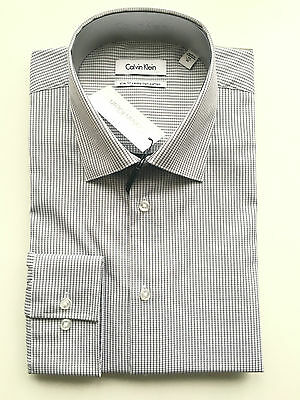 Calvin Klein Formal Dress Shirt Size 43 Sleeve 92 Check Slim Fit Business CK New
