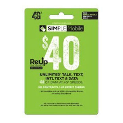 $40 Simple Mobile Retail Prepaid Refill Airtime Card Ship Fast Top Up
