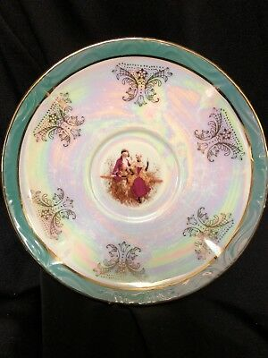 MID-CENTURY YS FINE PORCELAIN COURTING COUPLE SAUCER TEAL w/GOLD TRIM BEAUTIFUL!