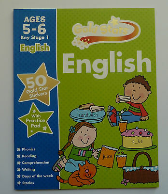 New Gold star English Age 5-6 KS 1 50 star stickers and practice pad