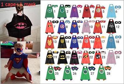 2018 Kid Super Hero Cape Mask Christmas Fancy Costume Boy Girls Cosplay Outfit**