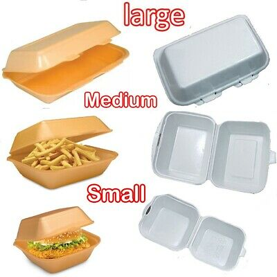 Small Medium Large Polystyrene Foam Food Containers Takeaway Box Hinged lid BBQ