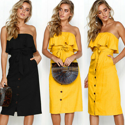 New Women Strapless Long Dress Boho Maxi Evening Party Cocktail Beach Sundress