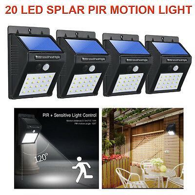 4X 20 LED Solar Powered PIR Motion Sensor Light Garden Outdoor Security Lights