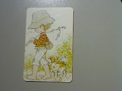 "1 Swap/Playing Card - ""Sarah Kay"" Cute Boy Going Fishing with Dog (Blank Back)"